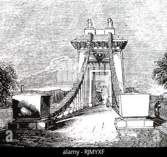 Illustration du pont suspendu de Clifton, au cours de l'Avon Gorge. Ce pont, a été conçu par Brunel en 1831, mais n'a pas été construit qu'après sa mort Photo Stock