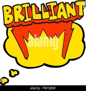 Freehand brillante appelée bulle pensée parole dessin animé Photo Stock