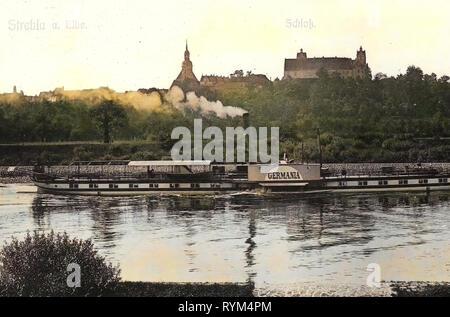 Einheit (1873), navire à vapeur, Germania, Schloss Strehla, Elbe dans Strehla, Églises en Landkreis Meißen, 1908, Landkreis Meißen, Strehla, Schloß und Elbe mit Dampfer Germania, Allemagne Photo Stock