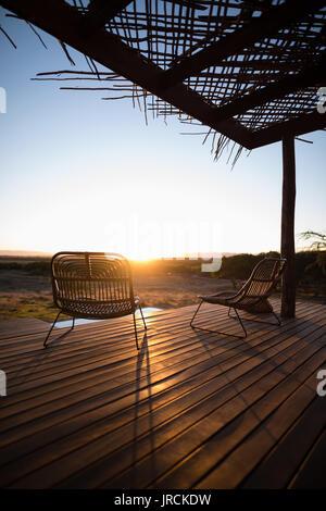 Vue sur terrasse en bois Photo Stock