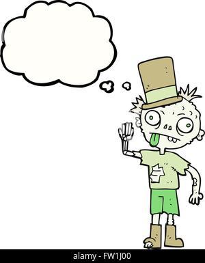 Freehand appelée bulle pensée zombie cartoon Photo Stock