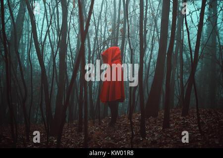 La figure mystérieuse mort en forêt. Misty woods Photo Stock