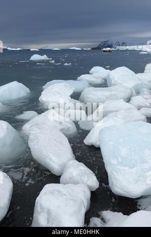 Les icebergs, avec de gros morceaux de glace échoués sur une plage volcanique dans la région de Brown Bluff à la péninsule Antarctique, l'Antarctique Photo Stock