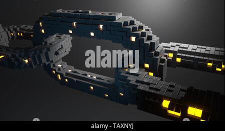 Blockchain technologie concept. 3D illustration Photo Stock