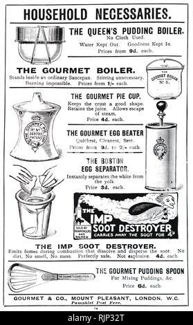 Une publicité pour divers gadgets de cuisine. En date du 20e siècle Photo Stock