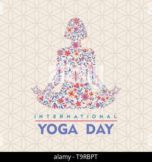 Carte de souhaits jour Yoga illustration. Femme lotus posent la méditation faite de fleurs Daisy colorés. Photo Stock