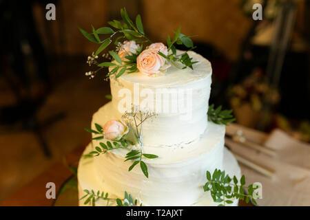 Gâteau de mariage avec des roses Photo Stock