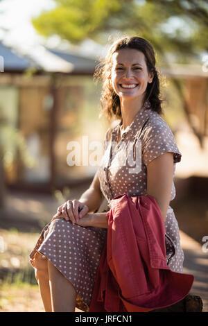 Senior woman sitting at the resort Photo Stock