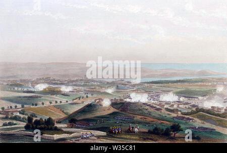 Guerre Péninsulaire: anglais sous le maréchal Soult attaque contre Porto, Portugal, en mars 1809 Photo Stock