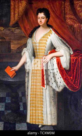 Ecole d'anglais, Portrait de la reine Anne (1665-1714), portrait peinture, 1800-1899 Photo Stock
