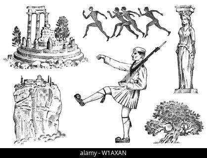La culture grecque. Ensemble de symboles nationaux. Ruines et rock, militaire et statue dans une colonne, les coureurs de marathon et un arbre. Gravée dans croquis dessinés à la main, Photo Stock