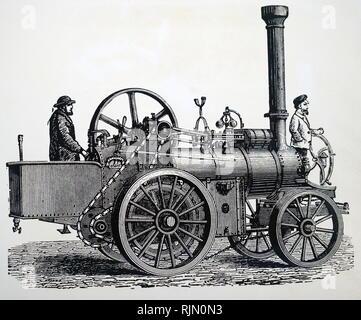 Illustration montrant la route à vapeur locomotive avec chaîne d'entraînement. 1888 Photo Stock