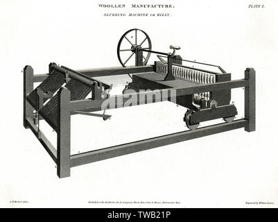 Fabrication de laine - Slubbing Machine ou Billy. Date: 1811 Photo Stock