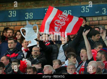 Avec DES FANS DE LINCOLN CITY EN FA Cup, FC Everton V LINCOLN CITY, unis en FA Cup, GOODISON PARK, Everton, en Angleterre, 05 Janvier 2019 Photo Stock