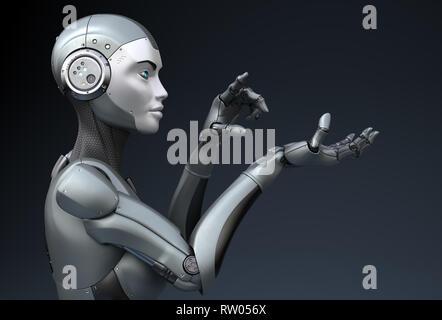 Robot est à la recherche de quelque chose dans sa main. 3D illustration Photo Stock