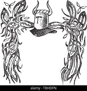 Éléments calligraphiques avec ornement de style baroque. Vintage médiévale héraldique. Décoration florissante pour les armoiries d'un royaume de fantaisie Photo Stock