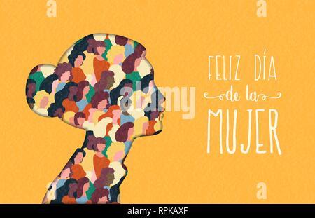 Heureux Womens Day illustration en langue espagnole. Coupe papier découpe silhouette fille avec les groupes de femmes à l'intérieur, femme foule pour l'égalité des droits mars ou pe Photo Stock