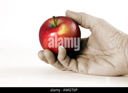 Hand Holding Red Apple brillant Photo Stock