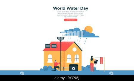 Journée mondiale de l'illustration, landing page web template de personnes activités vie eco friendly house pour les eaux douces et la nature sensibilisation hel Photo Stock