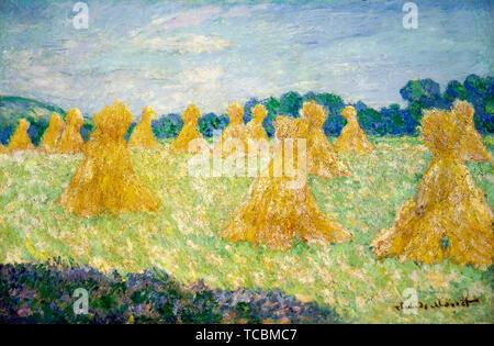 Claude Monet, Les demoiselles de Giverny, la peinture de paysage, effet de soleil, 1894 Photo Stock