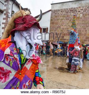 L'Espagne, Navarre, Lantz, scène de la vie au cours des célébrations au carnaval Photo Stock