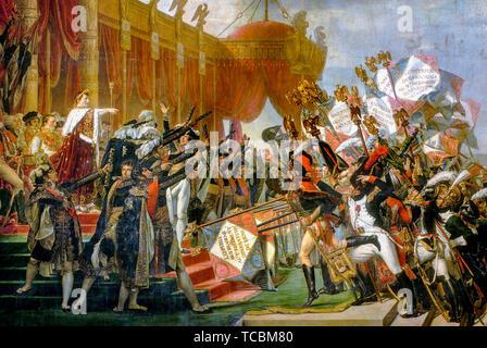 Jacques Louis David, l'Armée prête serment à l'Empereur après la distribution des aigles, 5 décembre 1804, peinture (détail), 1810 Photo Stock