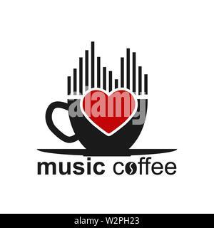 Tasse de café, spectre musical, du coeur et de la musique inscription café. Modèle pour le logo, la marque ou Bierdeckel. Photo Stock