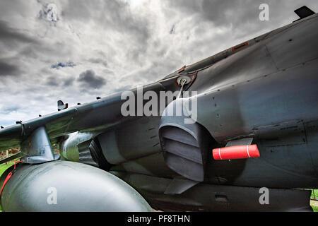 Le busard Saint-Martin, comme le Harrier Jump Jet, est une famille d'attaque à propulsion jet avion capable de décollage et atterrissage verticaux ou courts Photo Stock