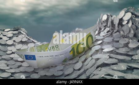 Un navire de papier fabriqué à partir d'un billet d'Euro à l'approche de l'iceberg Photo Stock