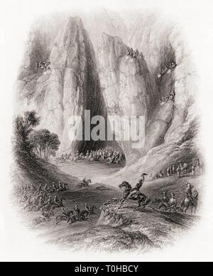 Vecchia foto vintage di Sir Charles Napier, perseguendo il rapinatore tribù Immagini Stock