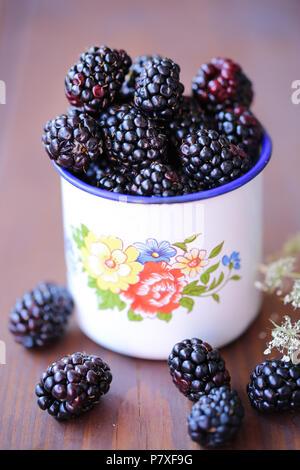 Fresco giardino more in un bianco vintage cup Immagini Stock