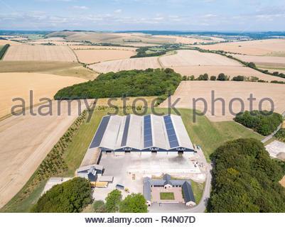 Paesaggio di antenna di edifici agricoli e raccolto estate di frumento e orzo campi Immagini Stock