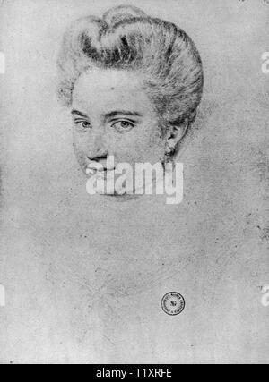 Belle arti, Rinascimento, ritratto di una donna, eventualmente Gabrielle d'Estree, disegno, 1597, Additional-Rights-Clearance-Info-Not-Available Immagini Stock