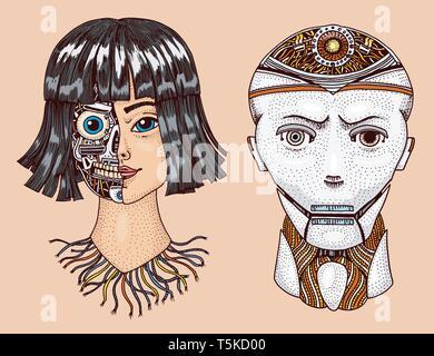 Intelligenza artificiale. Uomo e donna con metà della faccia del robot. Replicant o Android. Disegnata a mano la tecnologia del futuro. Vintage monocromatico inciso Immagini Stock
