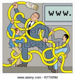 Padre combattendo i bambini per il controllo parentale dei cavi di connessione a internet Immagini Stock