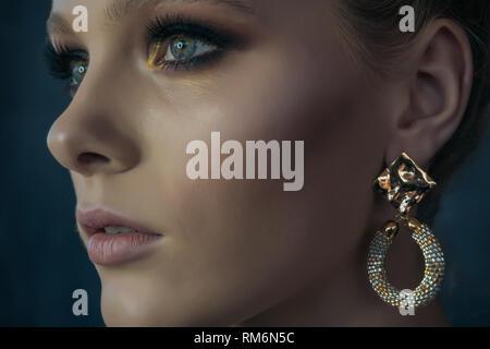 Faccia verticale nel profilo di una bellissima ragazza con trucco professionale su sfondo scuro Immagini Stock