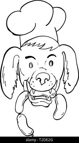 Lo stile del fumetto illustrazione di un Setter Irlandese cane che indossa lo chef, baker o cucinare hat mordere una stringa di salsiccia se visto dalla parte anteriore su isolati in background Immagini Stock