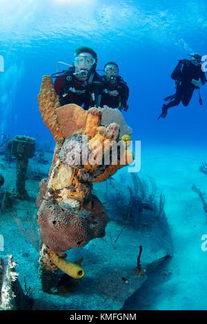 I subacquei sul relitto dell'oro verde, Grand Cayman Immagini Stock