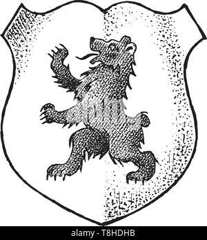 Per animale araldico in stile vintage. Inciso lo stemma con orso. Emblemi medievale e il logo del regno fantasy. Immagini Stock