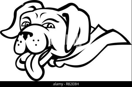 Sport icona mascotte illustrazione della testa di un labrador retriever cane che indossa un capo con la lingua di fuori vista dal lato isolato su sfondo nero in un Immagini Stock