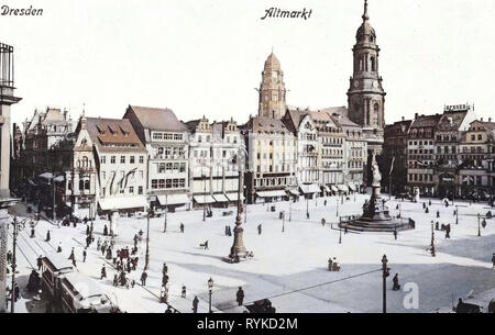Altmarkt, Dresda prima del 1945, Tram di Dresda, in carrozze trainate da cavalli in Germania, Germaniadenkmal a Dresda, Neues Rathaus, Dresda, edifici a Dresda, 1915, Innere Altstadt Immagini Stock