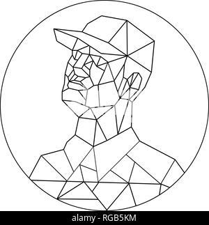 Bassa poligono illustrazione dello stile di unione di un lavoratore o di un commerciante che indossa un cappello da baseball cercando insieme all'interno del cerchio o ovale eseguita in bianco e nero sul mio Immagini Stock
