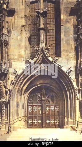 Chiese di Naumburg (Saale), porte in Naumburg (Saale), 1912, Sassonia-Anhalt, Naumburg, portale der Wenzelskirche, Germania Immagini Stock
