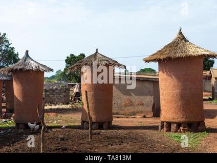 Adobe granai con tetti di paglia, Savanes distretto, Niofoin, Costa d'Avorio Immagini Stock