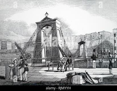 Illustrazione che mostra la catena al molo di Brighton, Inghilterra (1823). Progettato da Samuel Brown , R.N. (1774-1852) utilizzando il suo design della catena piana link. Immagini Stock