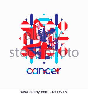 Modello di moda nel modello geometrico come cancro segno zodiacale Immagini Stock