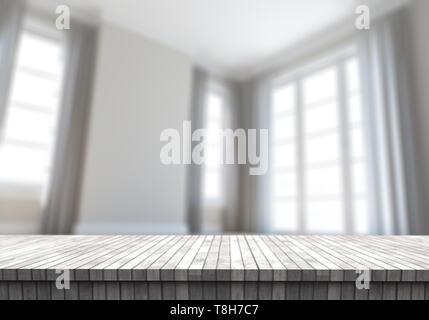 3D render di un tavolo di legno che guarda a un contemporaneo defocussed stanza vuota Immagini Stock