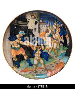 Piatto, una allegoria politico. Inscritto da Giulio da Urbino 1534, probabilmente dipinto in Urbino, mediante uno Immagini Stock