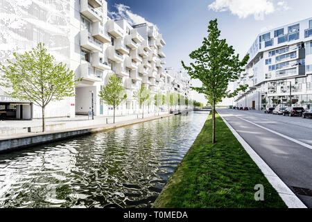 Architettura moderna, Ørestad, Copenhagen, Danimarca Immagini Stock