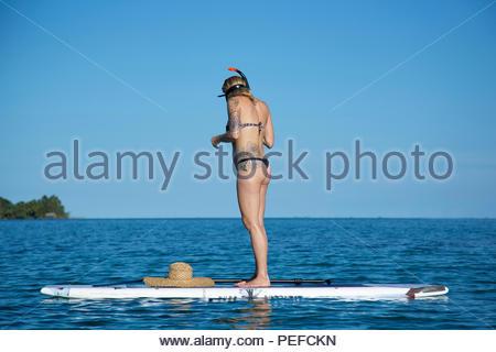 Un turista si prepara a fare snorkel dal suo stand up paddle board vicino a Isla Bastimientos, Panama. Immagini Stock